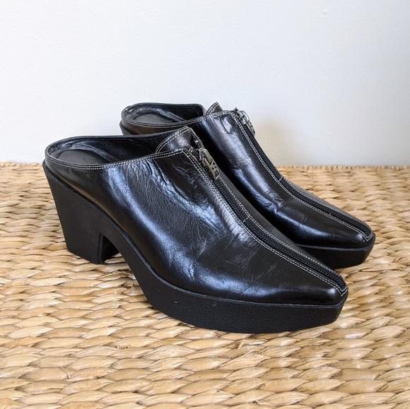 Vintage Shoes - Vtg Platform Black Leather Zip Mules Heels 8.5
